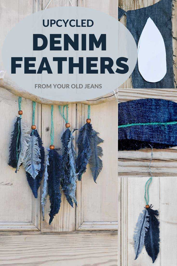 Denim feathers made from old jeans