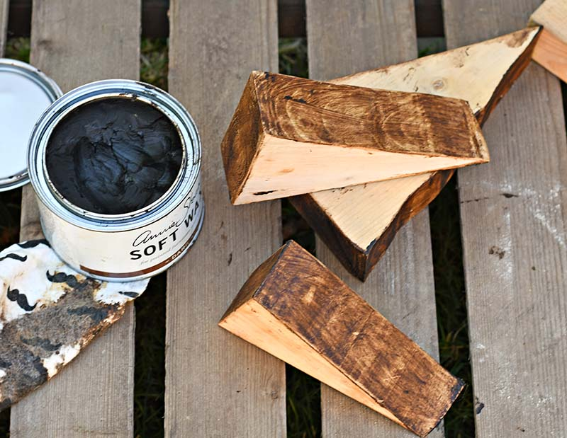 dark wax staining wood triangle scraps