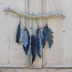 Denim feather wall decor