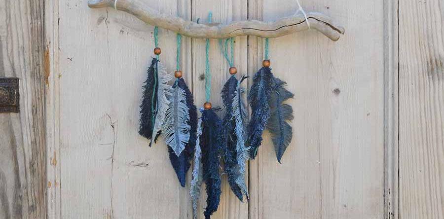 d58182fde6 How To Make Denim Feather Wall Decor - Pillar Box Blue