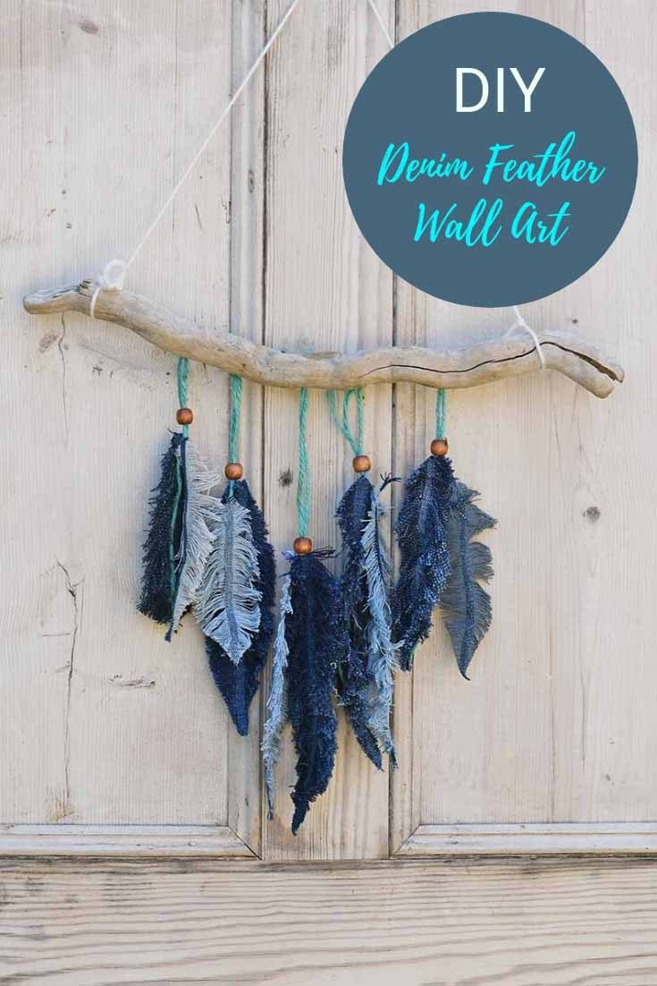This gorgeous feather wall decor is made from simple scraps of denim. The denim feathers are so easy to make and can be used for other crafts too. #denim #feathers #walldecor