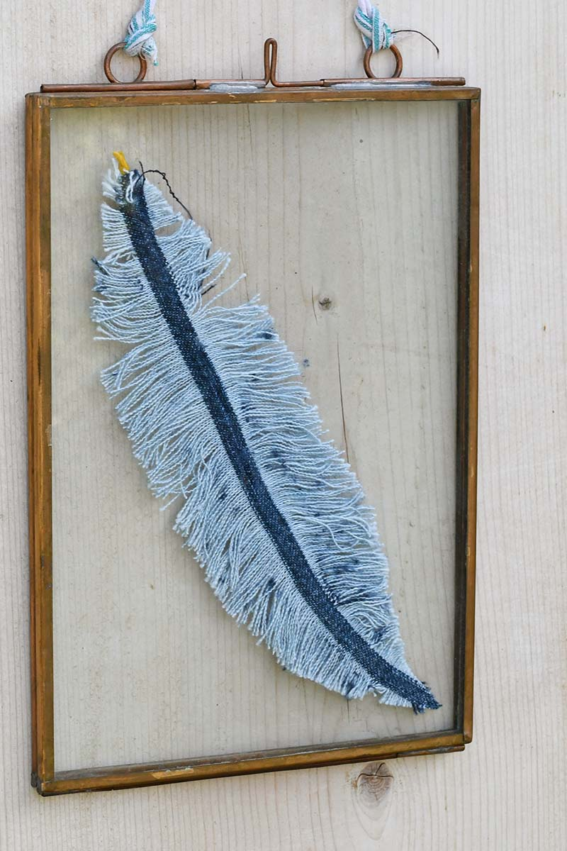 framed upcycled DIY denim feather