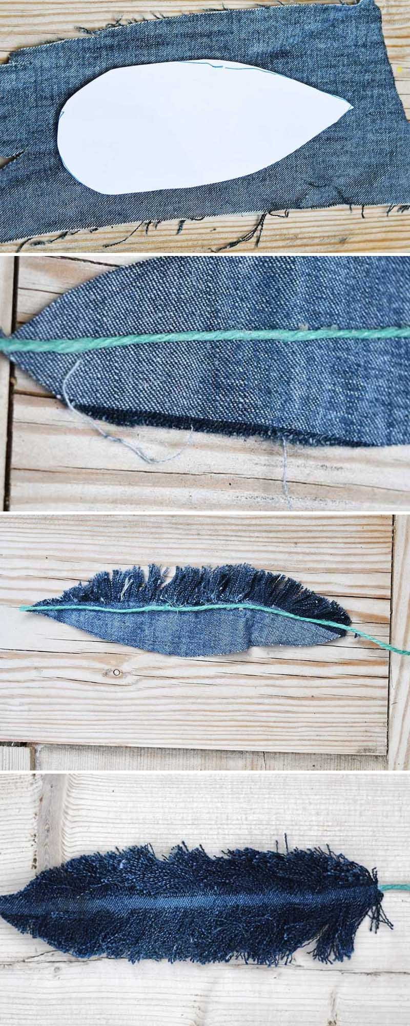how to make denim feather wall decor pillar box blue. Black Bedroom Furniture Sets. Home Design Ideas