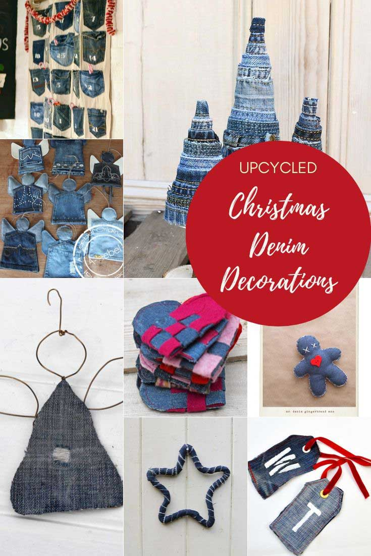 Upcycled Denim Christmas Decorations
