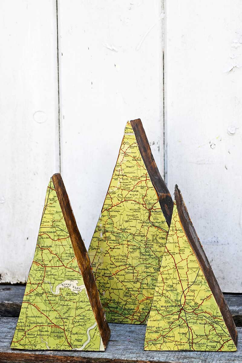DIY mountain map ornament