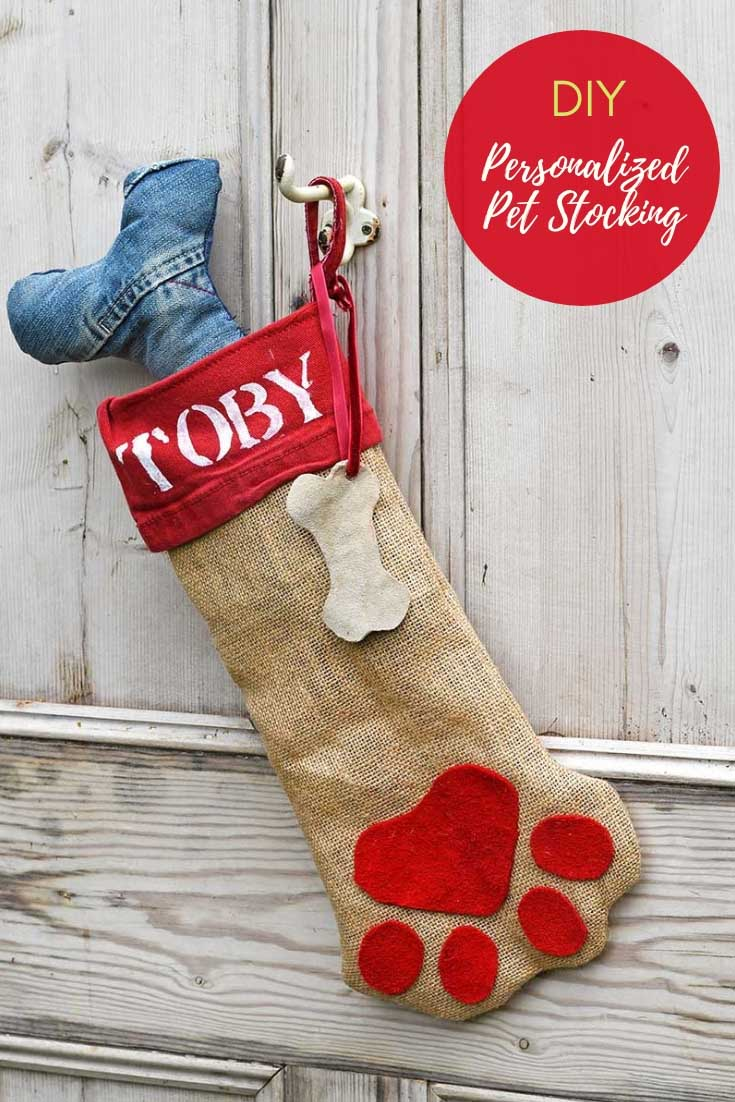 DIY personalized dog Christmas stocking