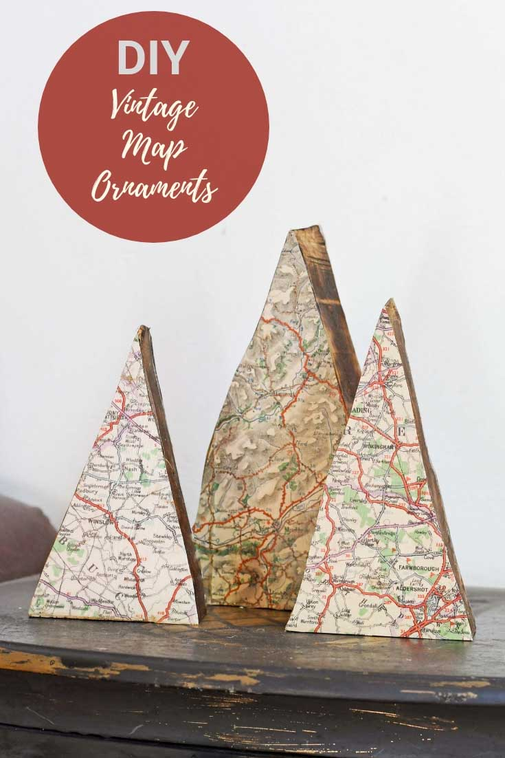 vintage map ornaments