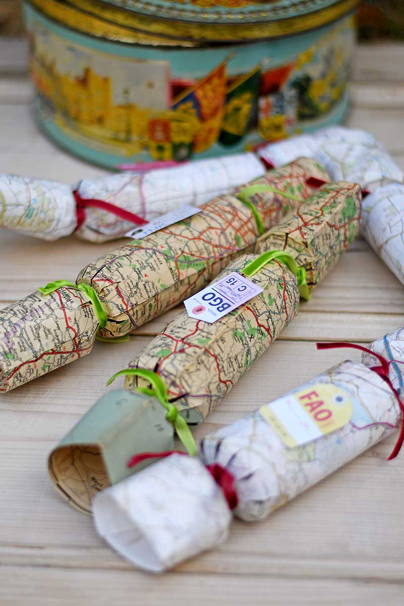 How to make your own Christmas crackers from vintage road maps