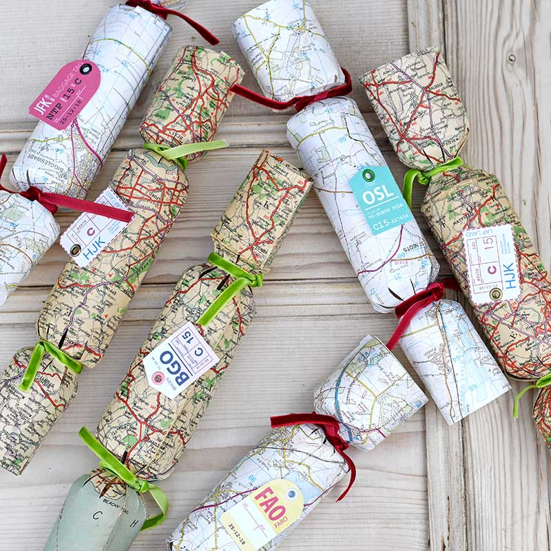 Make your own christmas crackers with vintage maps