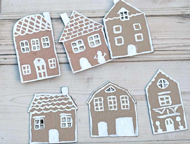 Painted cardboard gingerbread houses