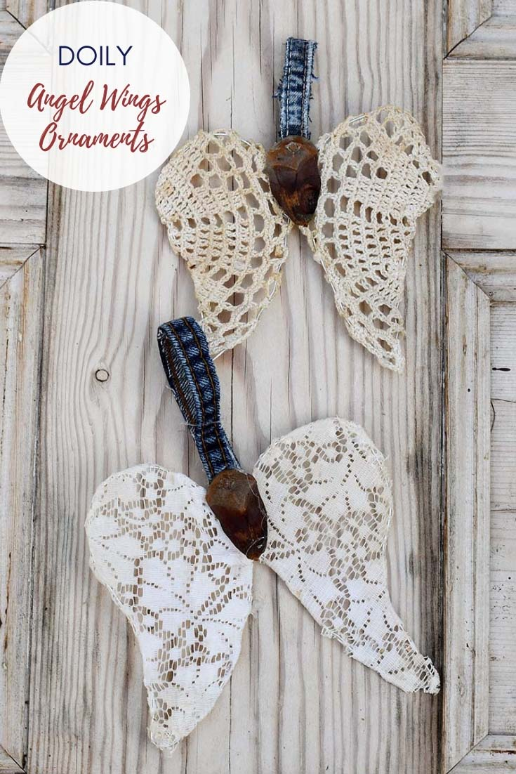 Repurposed doily angel wings Christmas ornament 3