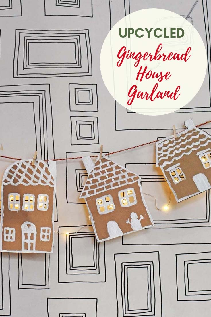 Upcycled Cardboard Gingerbread garland