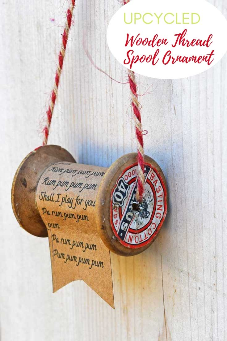 Vintage wooden thread spool ornament