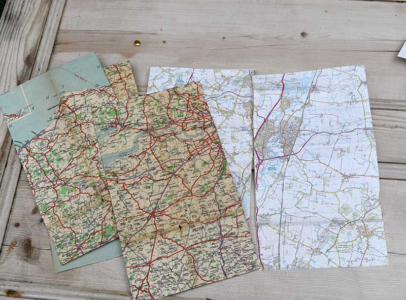 Map sheets for handmade map Christmas crackers.