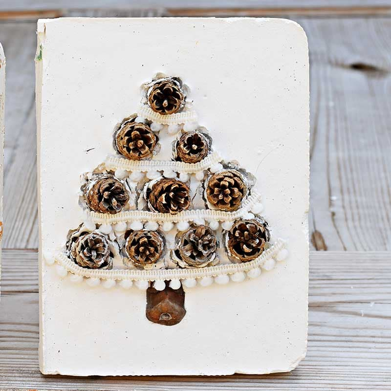 DIY plaster of paris pinecone tree Christmas tiles
