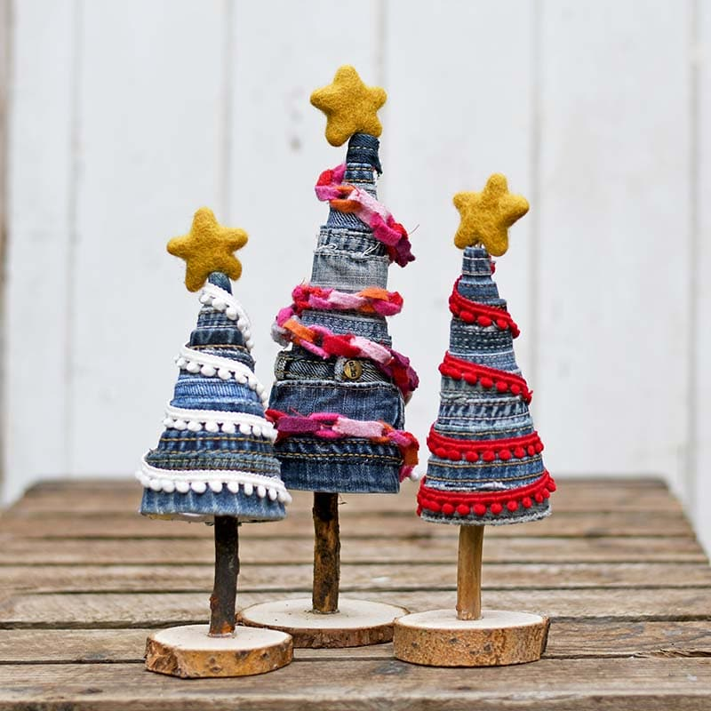 Upcycled Christmas trees made from old jeans