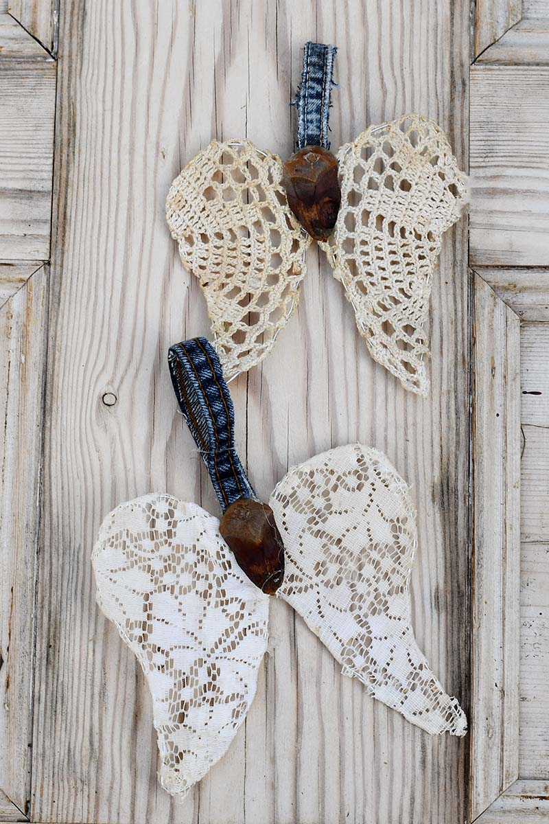 angelupcycled doily  wings Christmas ornament