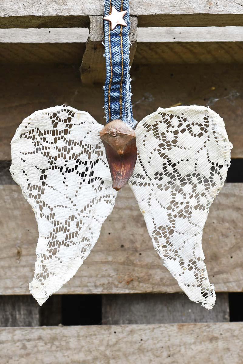 Repurposed doily angel wings Christmas ornament