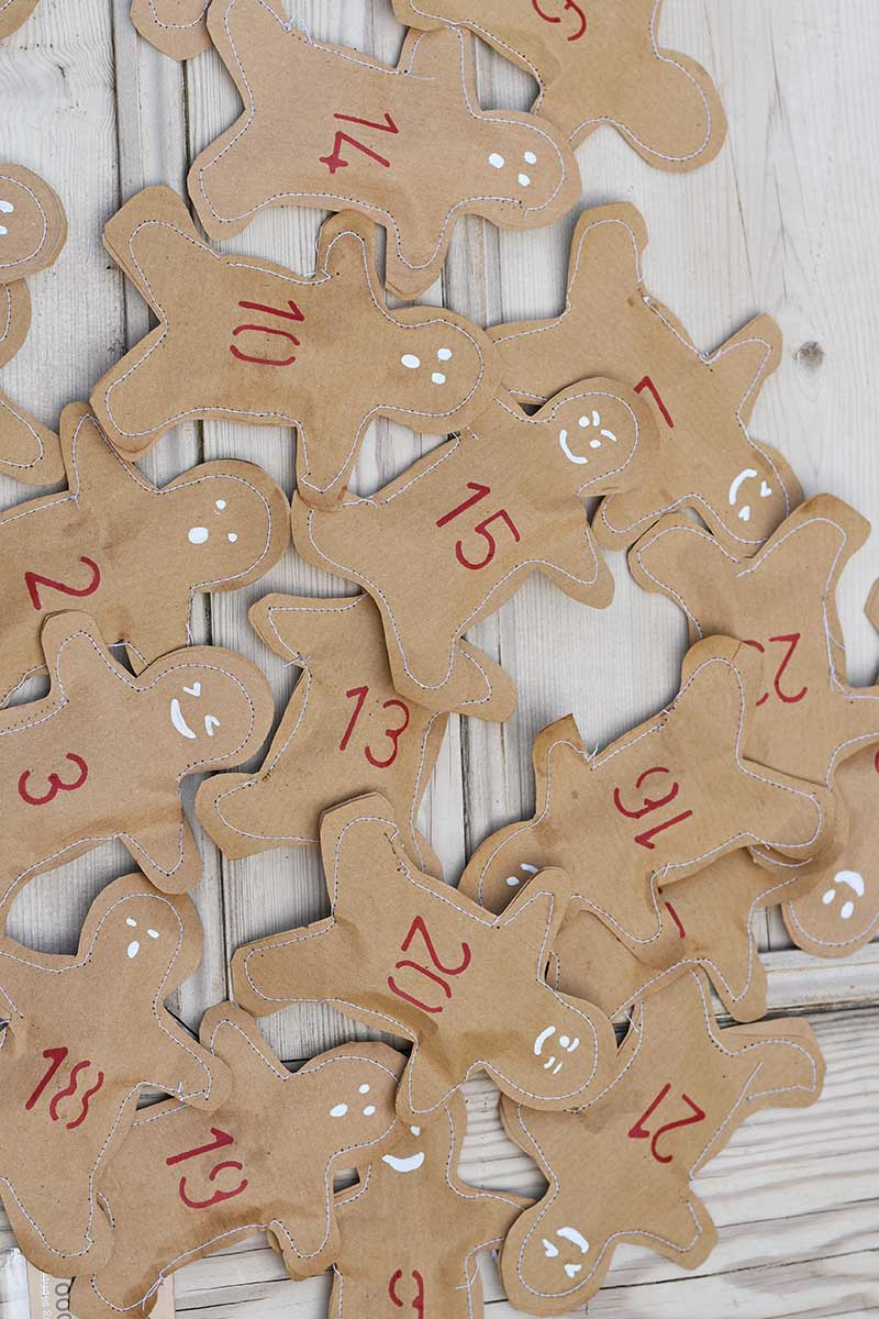 finished gingerbread men for homemade advent calendar