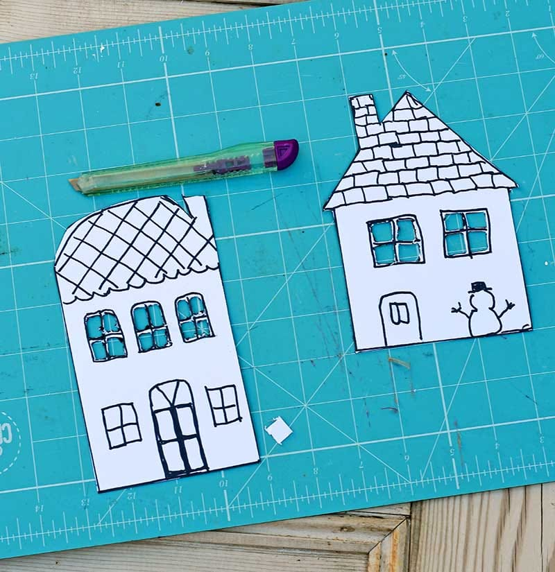 Cutting out gingerbread house templates