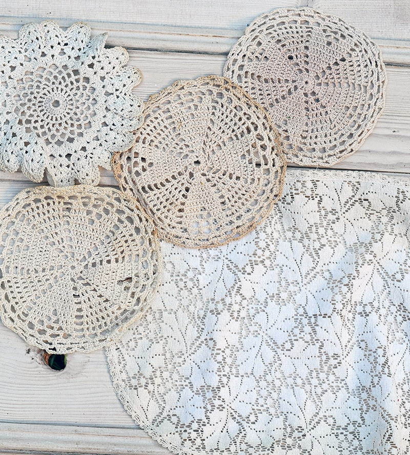 Vintage doilies for angel wings ornament