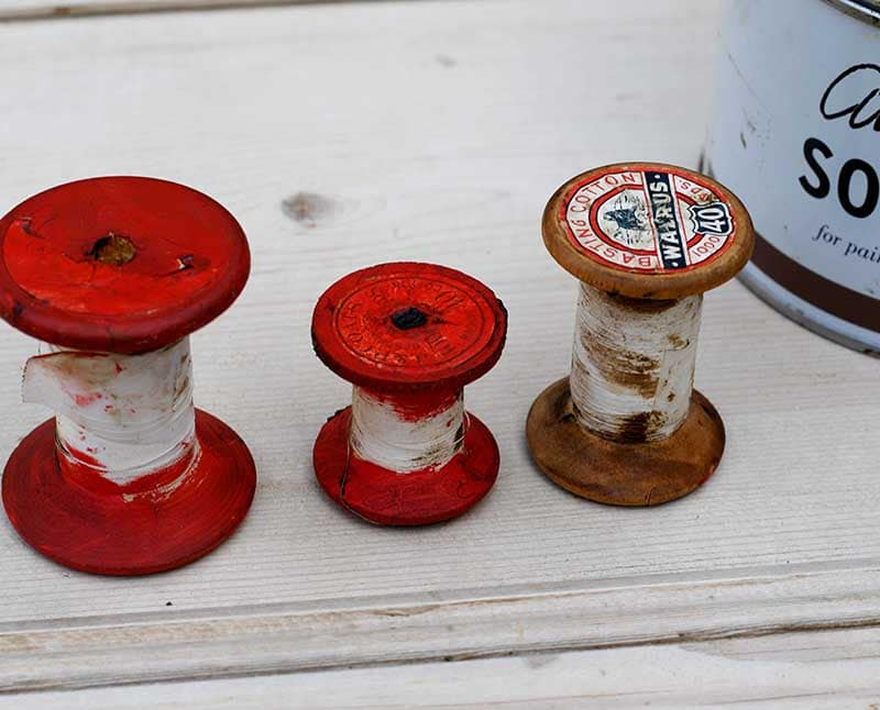 painted vintage wooden thread spools