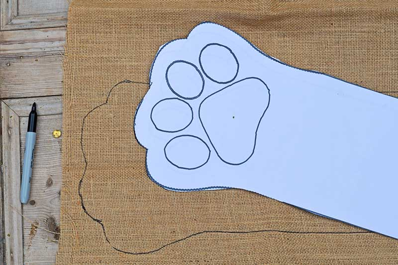 Paw stocking pattern on burlap