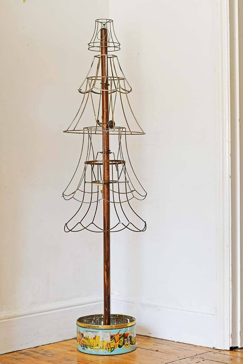 repurposed lamp wire rustic Christmas tree