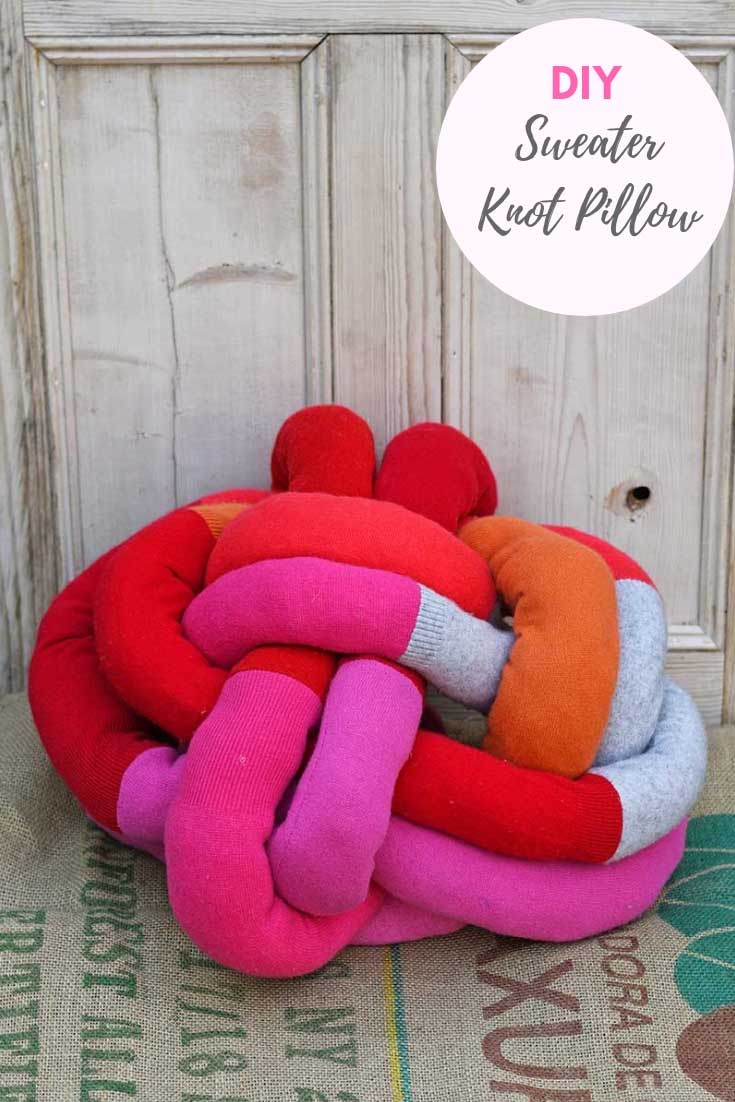 upcycled sweater DIY knot pillow