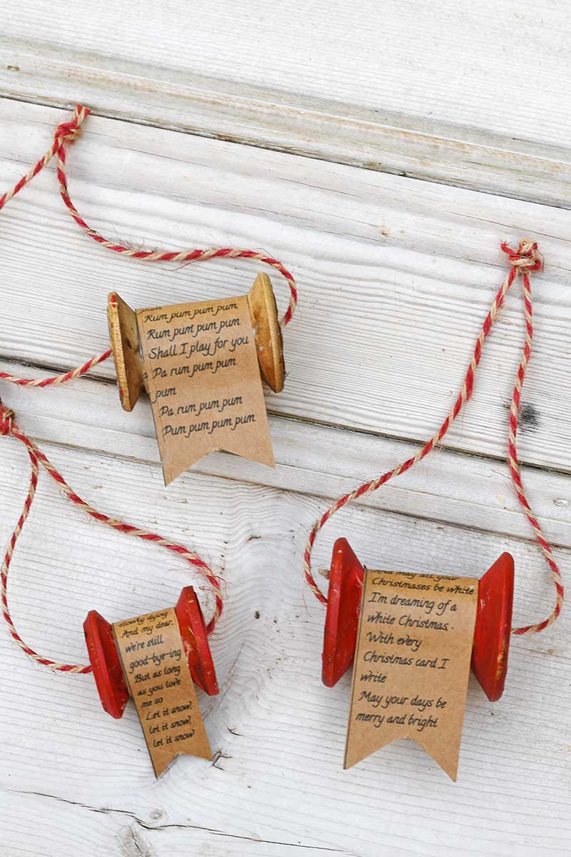 upcycled vintage wooden thread spool ornaments for Christmas