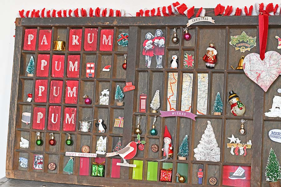Vintage Christmas Printers Tray into Christmas Shadow box