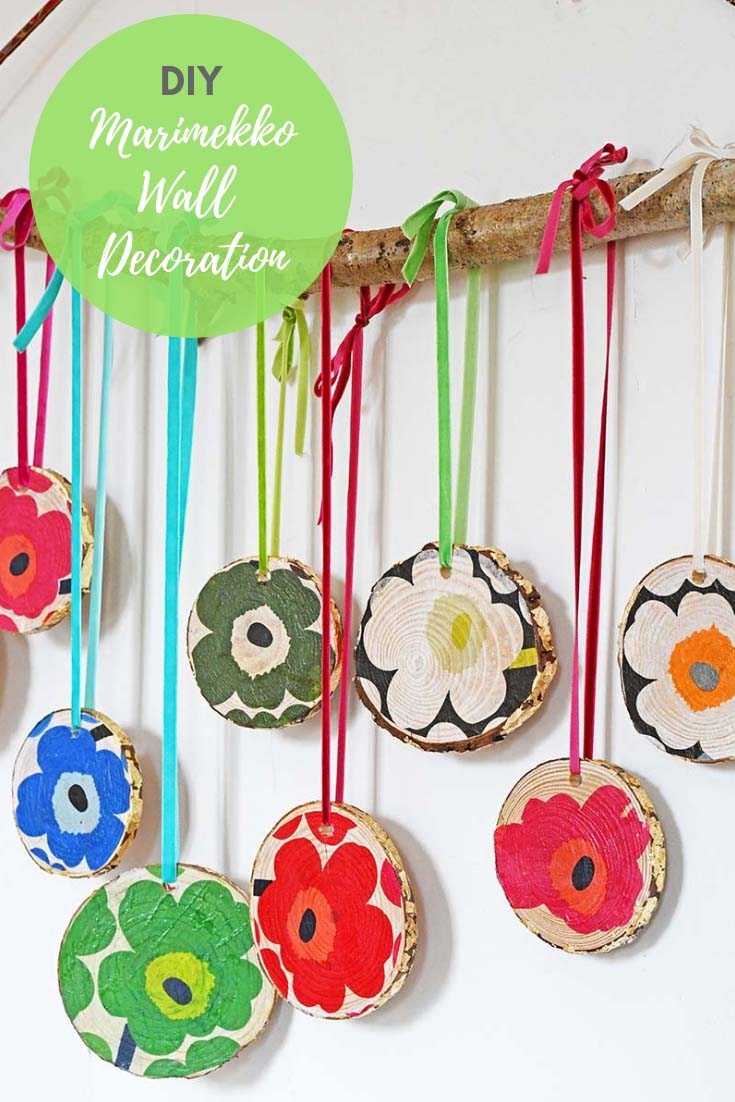 DIY marimekko wood slice wall decoration