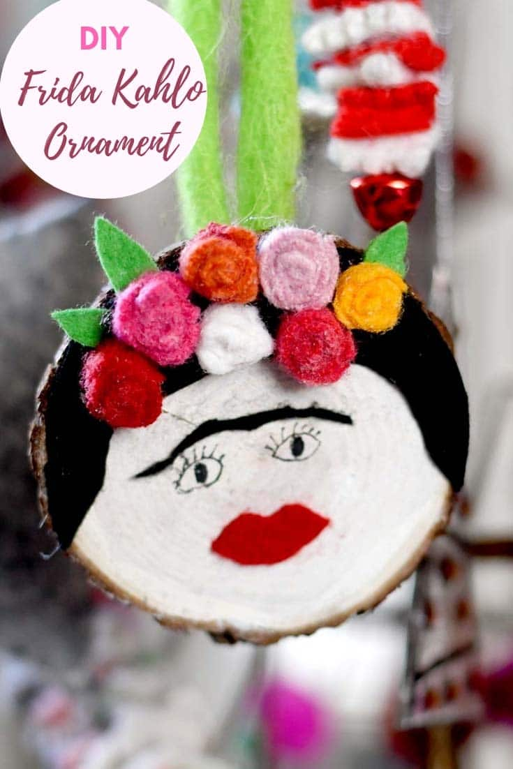 DIY wood slice Frida Kahlo ornament