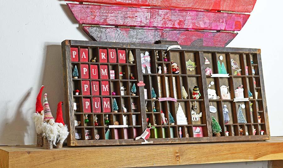 Vintage Christmas Printers Tray into Christmas Shadow box