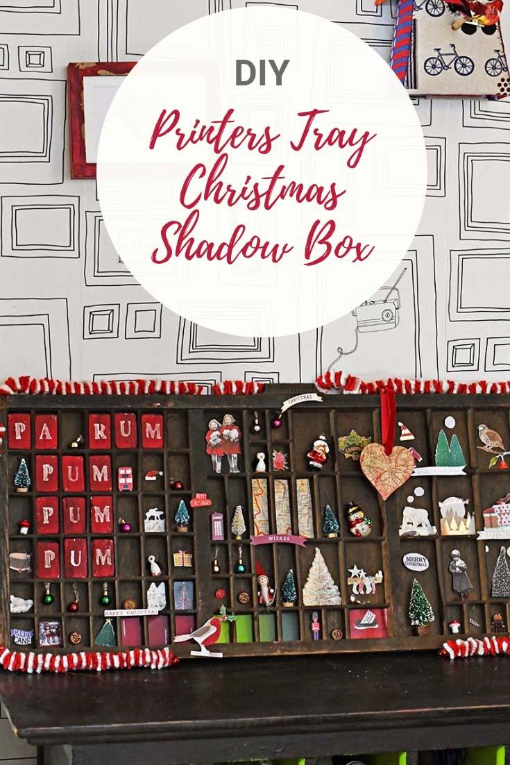 Vintage printers tray Christmas Shadow box