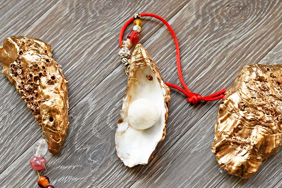 DIY glamourous oyster shell ornament