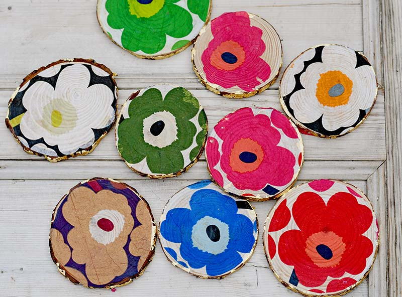 Marimekko Nordic Wood slice for a wall decoration or to use as coasters.