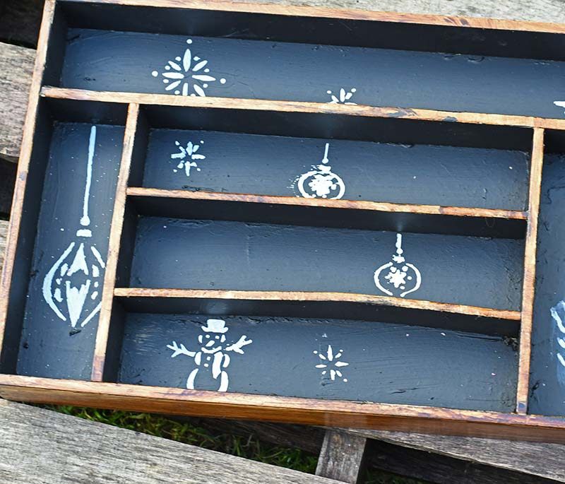 painted and stenciled cutlery tray