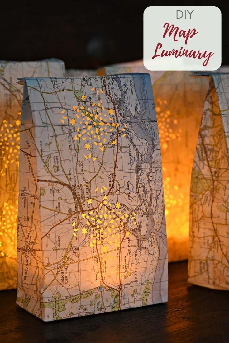 DIY map luminary bags