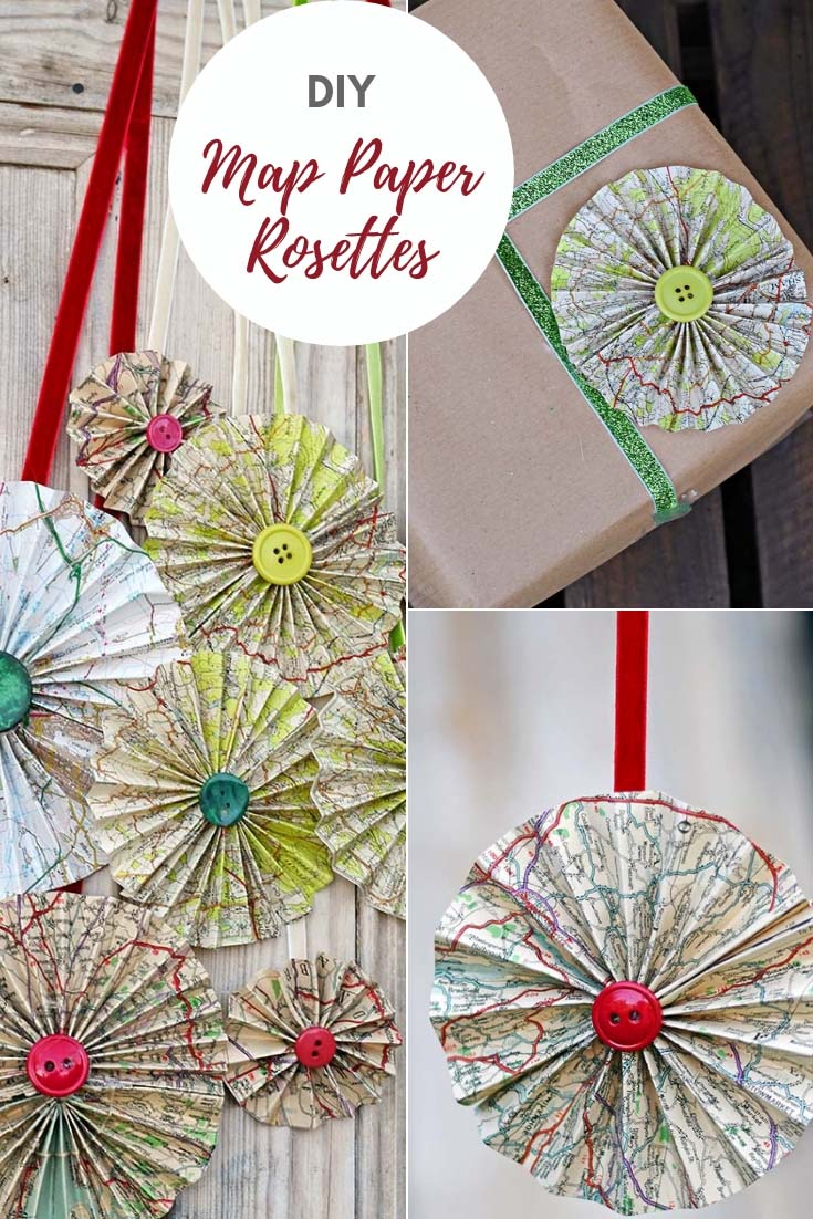 DIY map paper rosettes