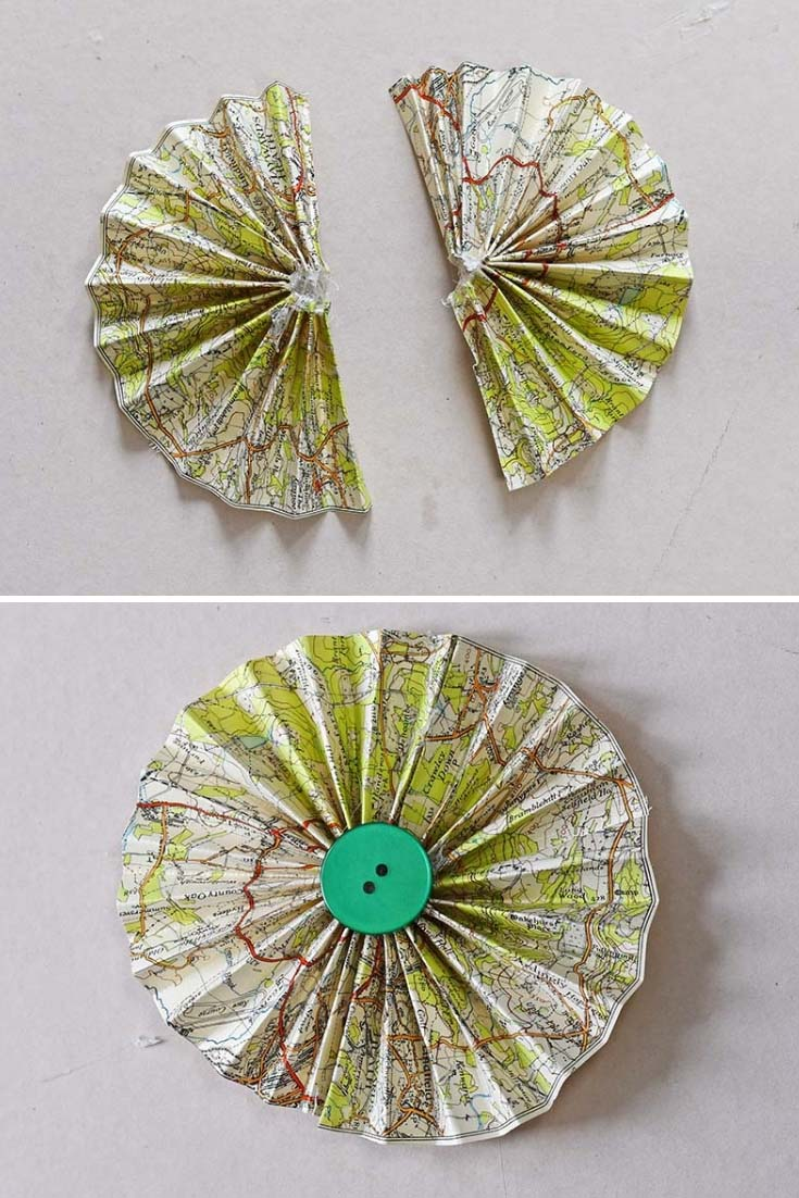 Finishing map paper rosette ornaments