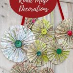 Upcycled road map rosettes door pin