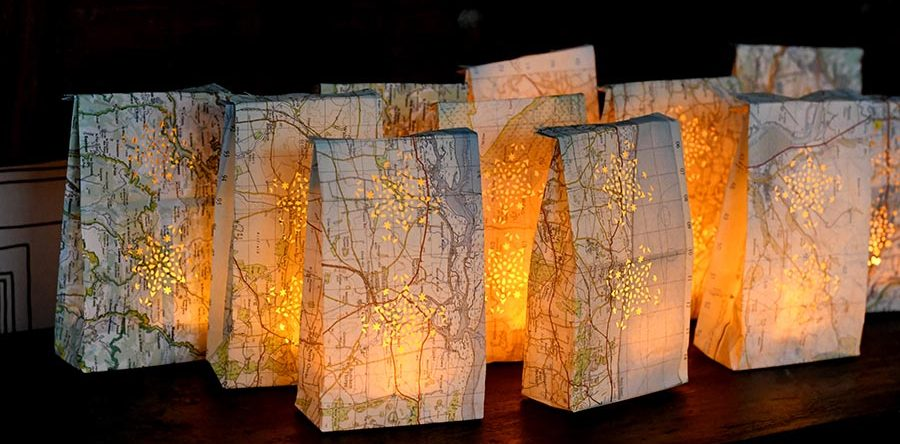 How To Make Pretty Map Luminary Bags