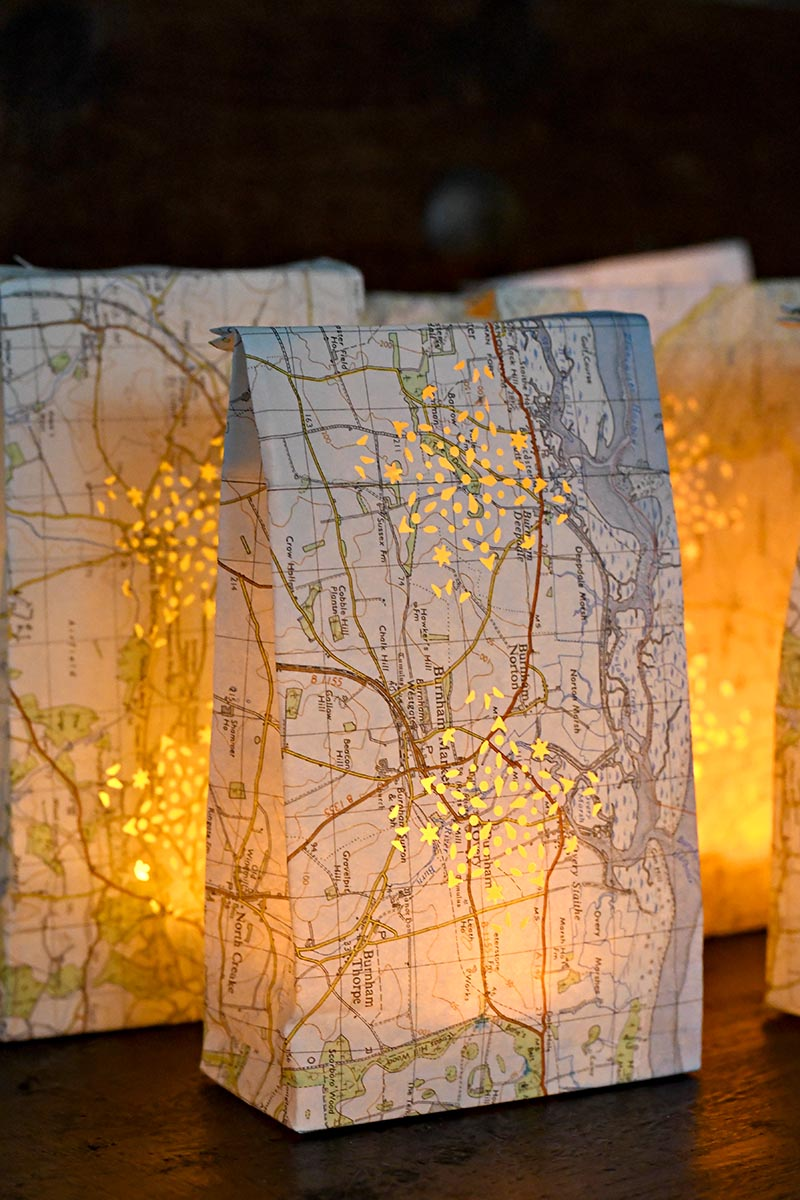 finished map luminary bags illuminated