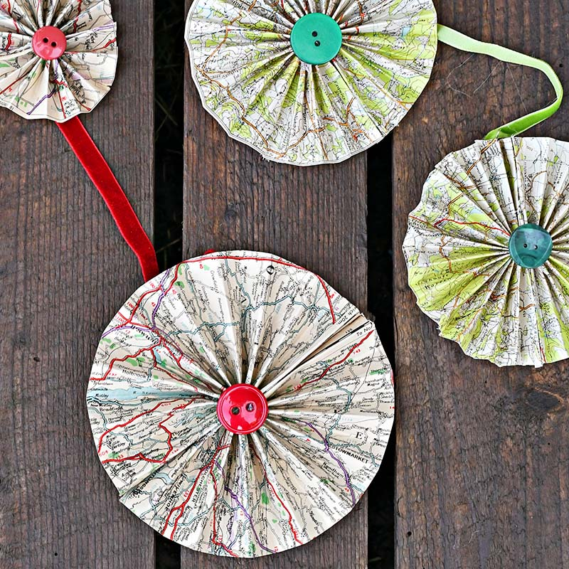 Assortment of map paper rosettes