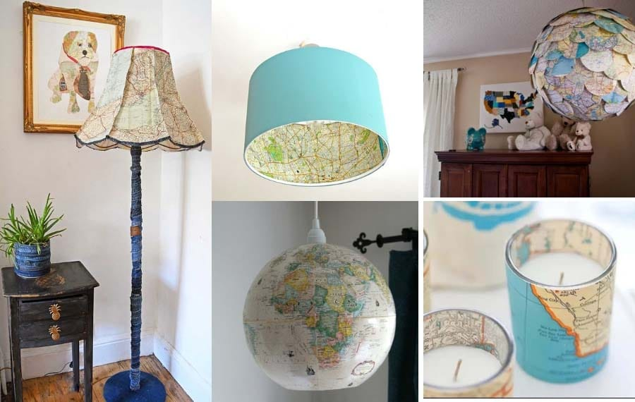 9 of the best upcycled lighting ideas with maps
