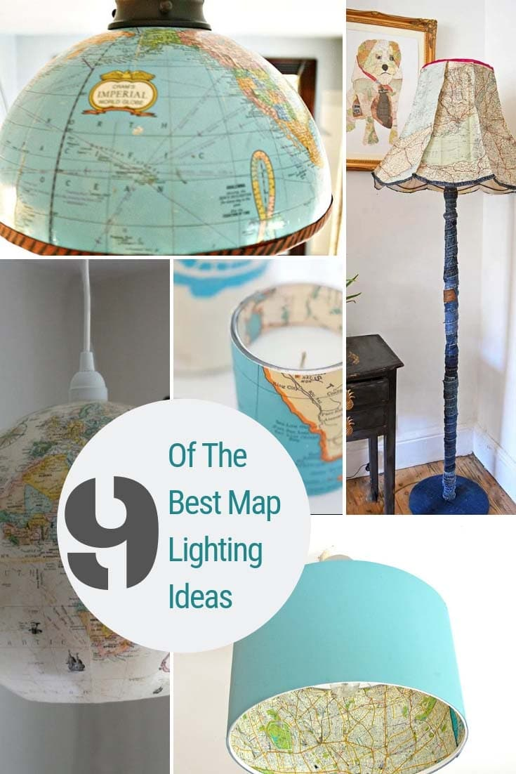 Upcycled lighting with maps