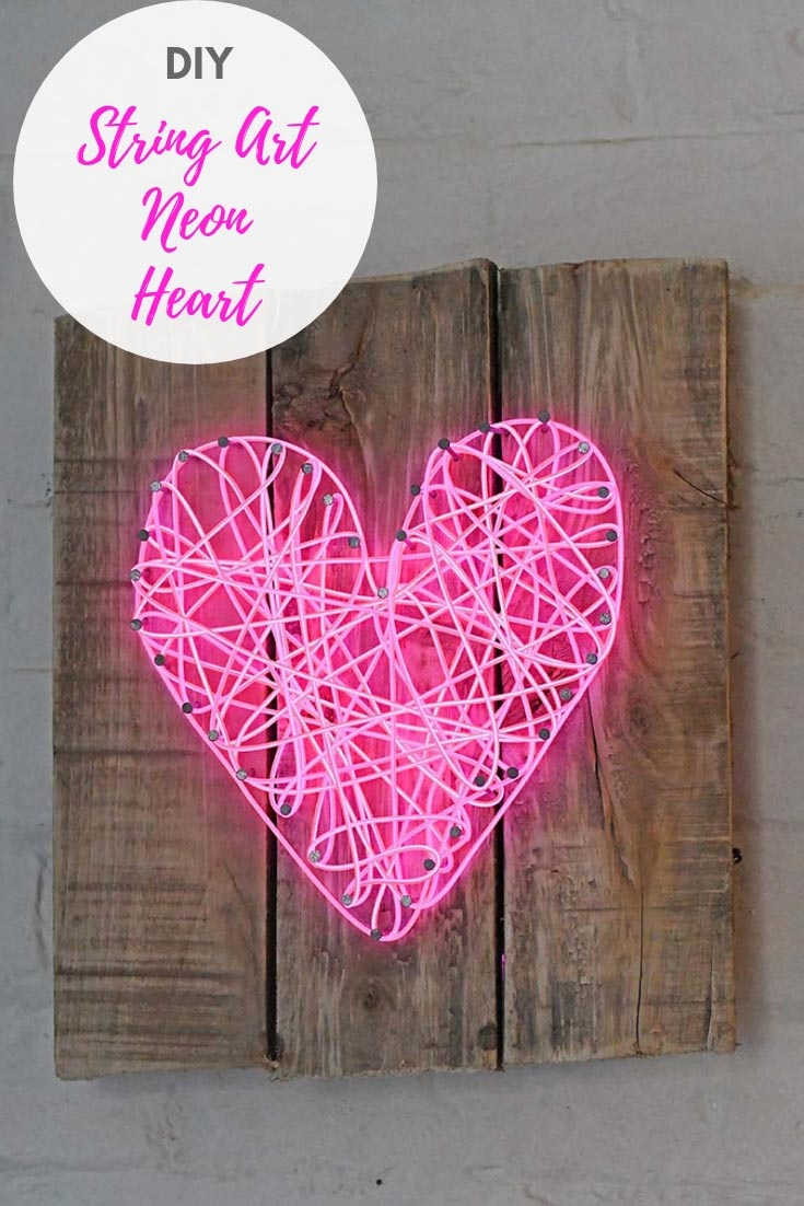 A funky alternative to string art with this DIY neon heart sign for Valentine's day