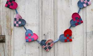 Finished scandinavian woven hearts garland