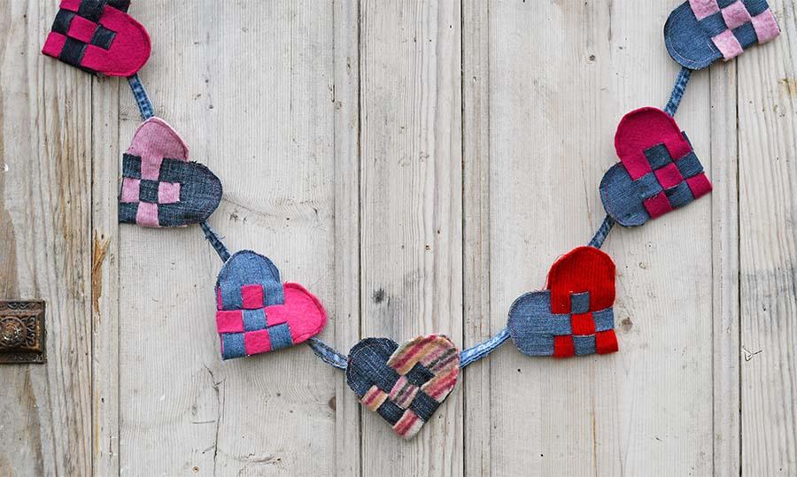Finished scandinavian woven hearts garland